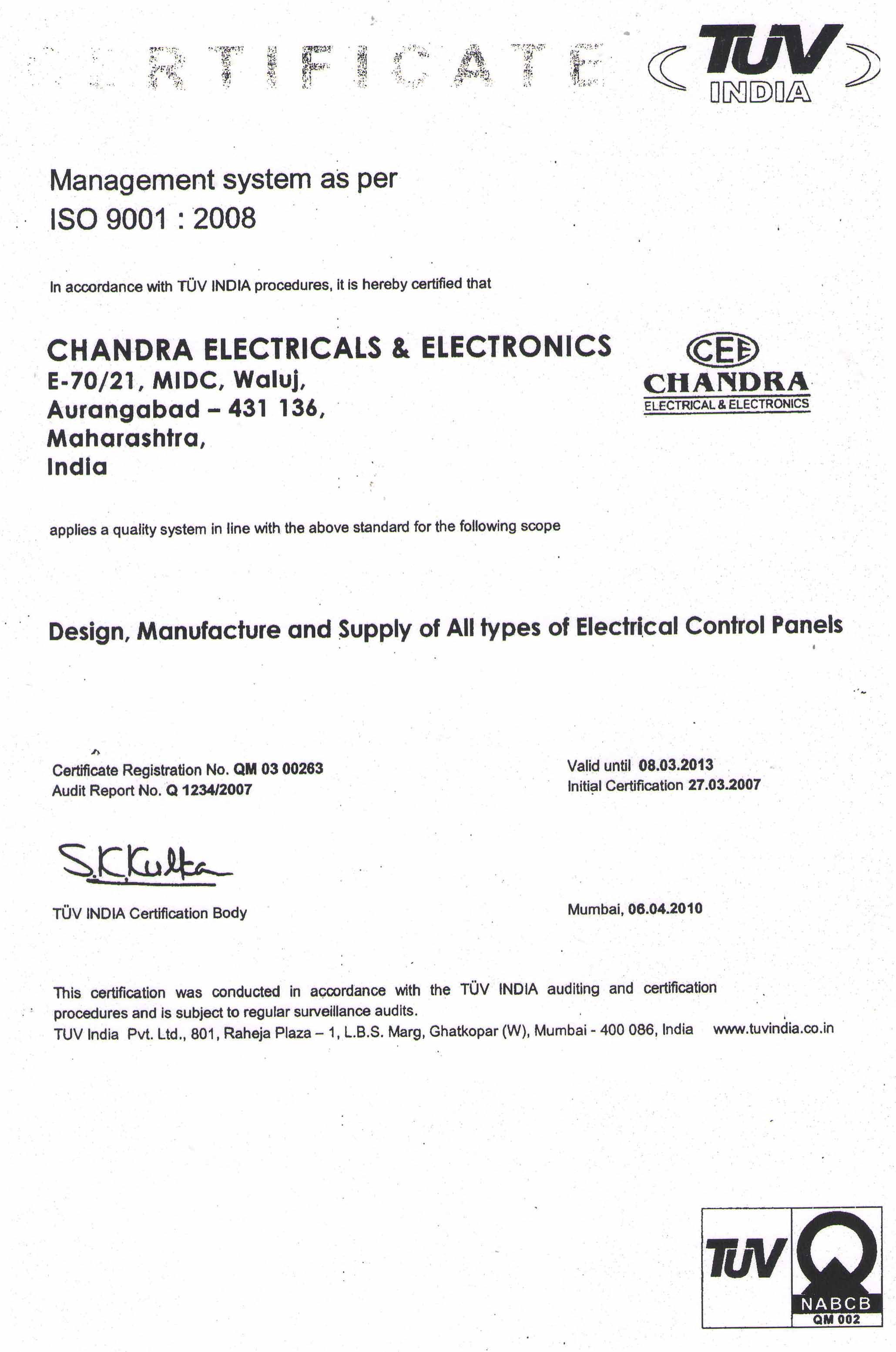 Chandra electricals electronics about iso certificate xflitez Image collections